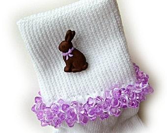 Kathy's Beaded Socks - Chocolate Bunny socks, button socks, bunny socks, lavender socks, tri bead socks, Easter socks