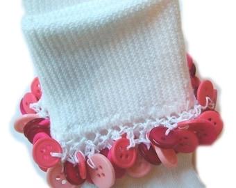 Kathy's Beaded Socks - Valentines Day -  Pink Button socks, girls socks, school socks, button socks, pink socks, hot pink socks, white socks