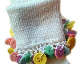 Kathy's Beaded Socks - Pastel Buttons socks, girls socks, pastel socks, school socks, pink socks, blue socks, yellow socks