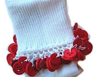 Kathy's Beaded Socks -Valetines Day - Red Button socks, girls socks, school socks, button socks, red socks, party socks, white socks