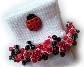 Kathy's Beaded Socks - Lady Bug socks, red and black socks, button socks, tri bead socks, school socks
