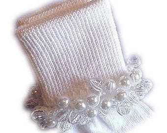 Kathy's Beaded Socks - Simply Elegant socks, First Communion socks, Baptism socks, Christening socks, pearl socks, faceted socks