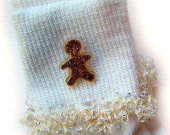 Kathy's Beaded Socks - Gingerbread Sparkle socks, Christmas socks, button socks, holiday socks, gingerbread socks