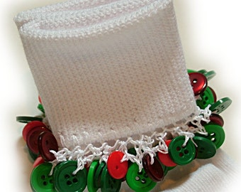Kathy's Beaded Socks - Red and Green Buttons socks, Christmas socks, holiday socks, button socks, green socks, red socks