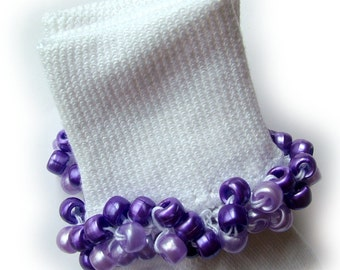 Kathy's Beaded Socks - Purple Passion socks, girls socks, purple socks, lavender socks, pearl socks, school socks