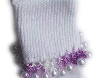 Kathy's Beaded Socks - Lavender Variegated Pearl socks, girls socks, lavender socks, pearl socks, variegated socks, baby socks
