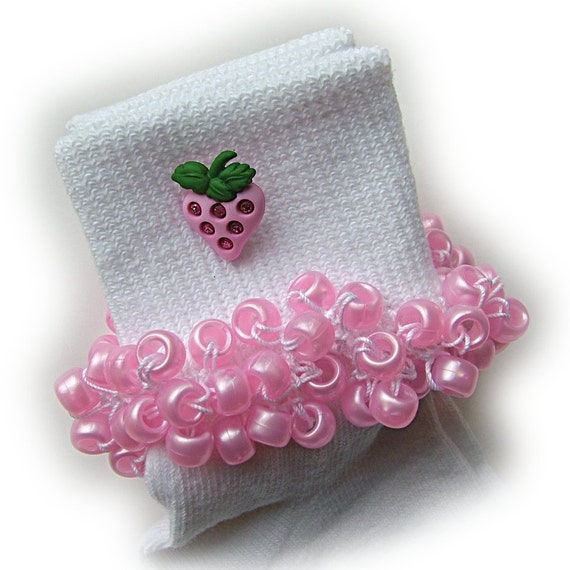 Sale - Sale- Sale - Kathy's Beaded Socks - Pink Strawberry