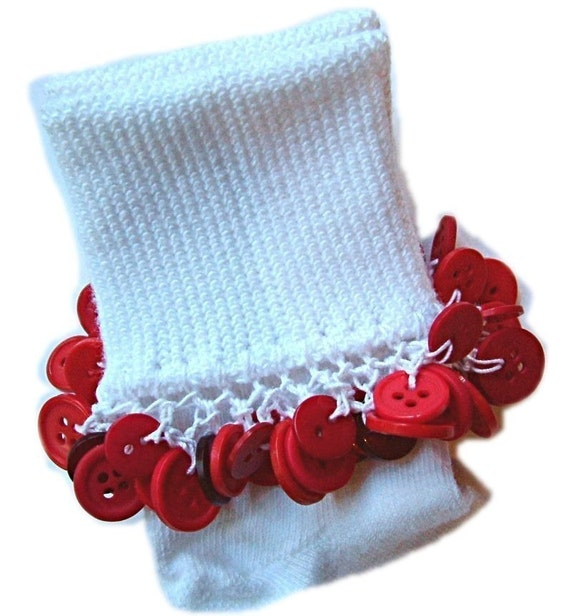 Kathy's Beaded Socks - Valentine Red Button socks, girls socks, school socks, button socks, red socks