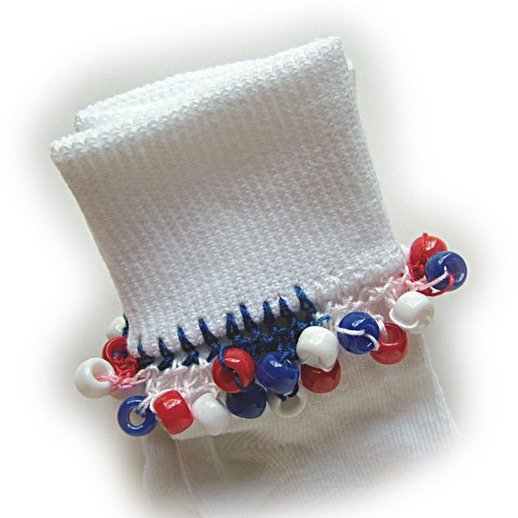 Kathy's Beaded Socks - Patriotic socks, girls socks, red,white and blue socks, pony beads