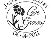 Custom Save the Date Love Grows Rubber Stamp AD31