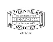 Passport Stamp Vintage Save the Date Custom Rubber Stamp AD144