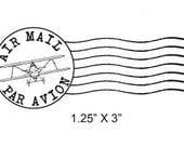 Airplane Post Mark Air Mail -  Par Avion Mail Art Rubber Stamp 295