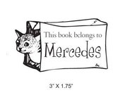 Cat in the Bag Personalized Bookplate Stamp H27