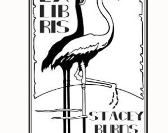 Flamingos Art Deco Personalized Bookplate Rubber Stamp F06