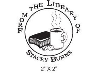 Custom Bookplate Ex Libris Coffee Cookies and a Book Rubber Stamp A03