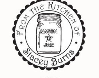 Mason Jar - From the Kitchen of - Personalized Rubber Stamp G05