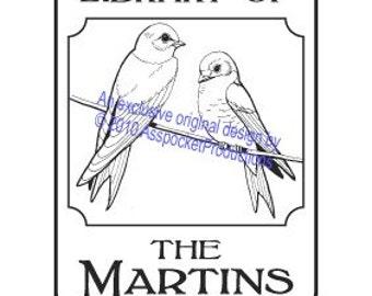 Purple Martin Custom Bookplate Ex Libris Rubber Stamp G12