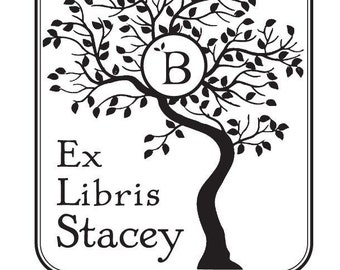 Personalized Ex Libris Library Rubber Stamp MonogramTree D17