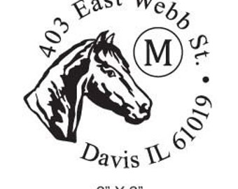 Horse Monogram Custom Return Address Rubber Stamp AD115