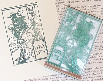 Custom Ex Libris Skeleton Carrying Books Library Stamp A18