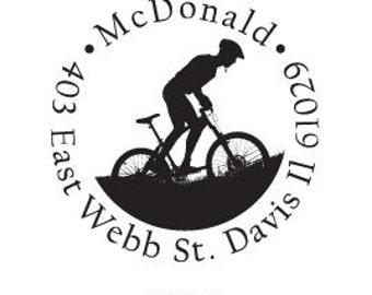 Cyclist Mountain Bike Silhouette Custom Return Address Rubberstamp 2 inch Round AD117