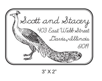 Custom Peacock  Handwritten Return Address Rubber Stamp AD42