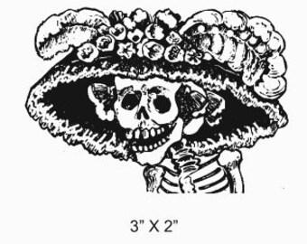 La Calavera Catrina Skull Lady in Floral Hat Posada Calaveras Rubber Stamp 169