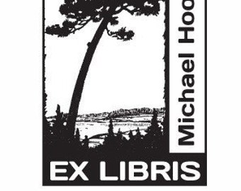 Dramatic Lone Pine Tree Personalized Ex Libris Rubber Stamp E11