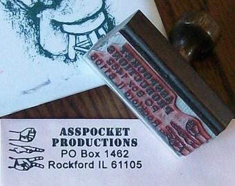 Rock Paper Scissors RPS Custom Return Address Rubber Stamp AD116