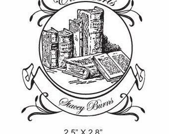 Antique Books and Floral Ex Libris Bookplate Rubber Stamp E05