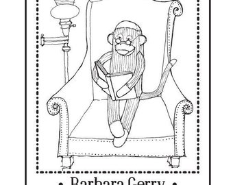 Personalized Ex Libris Bookplate Rubber Stamp Sock Monkey Reading Original Art C10 featured artist