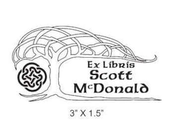 Celtic Knot Tree Personalized Bookplate Ex Libris Rubber Stamp H09