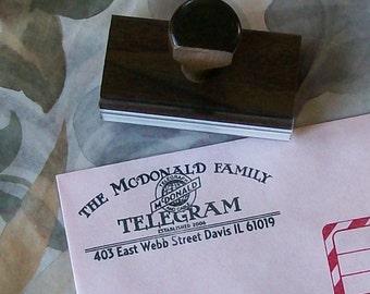 Telegram Antique Custom Return Address Rubber Stamp AD122a