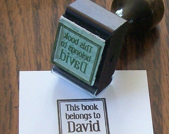 Personalized  Inchie This book belongs to  Rubber Stamp Bookplate Ex Libris A08