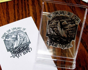 Personalized Sailing Ex Libris Bookplate Rubber Stamp A02