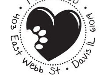 Paw On Your Heart Custom Return Address Rubber Stamp AD137