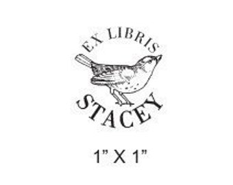 Personalized Sparrow Inchie Ex Libris  Rubber Stamp Bookplate H12