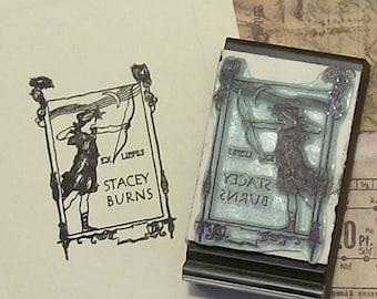 Personalized Ex Libris Archeress Rubber Stamp B12