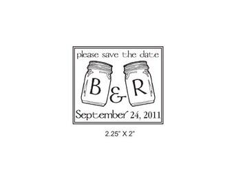 Custom Mason Jars Save the Date Rubber Stamp AD152