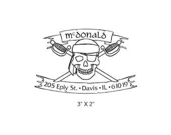 Pirate Skull with Crossed Swords Custom Return Address Rubber Stamp AD205