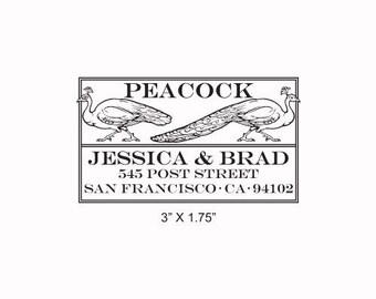 Peacocks Custom Return Address Rubber Stamp 208