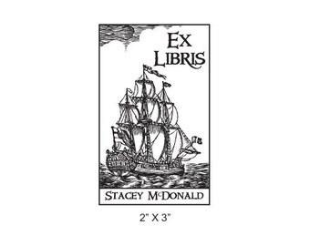 Custom Nautical Ship Ex Libris Library Stamp Rubber Stamp K12