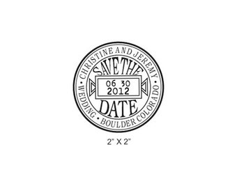 Save the Date Antique Seal Custom Rubber Stamp