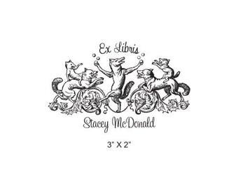 Fox Juggling Storybook Series Custom Ex Libris Bookplate Rubber Stamp K25