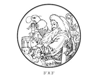 Santa in His Workshop  Rubber Stamp 112