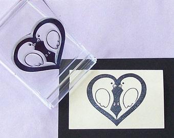 Lovebirds Heart Rubber Stamp Medium 125