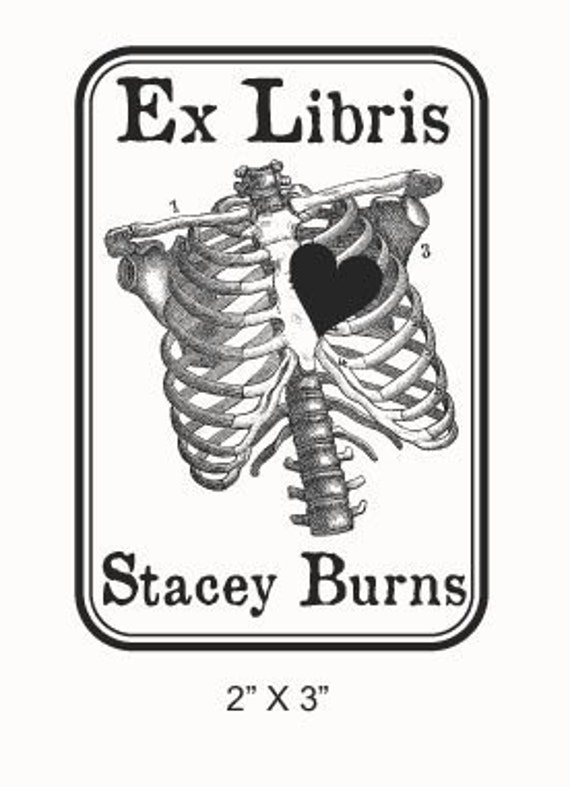 Personalized Anatomical Ribcage Bookplate Ex Libris Rubber Stamp F04