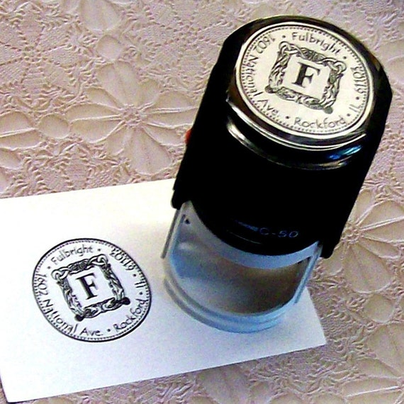 Personalized 2 inch Round Deluxe Self Inking Rubber Stamp