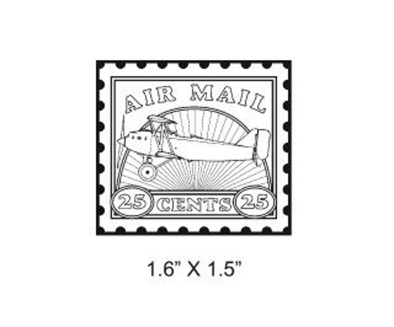 Airplane Postage Stamp  Air Mail Faux Postage Mail Art Rubber Stamp 294