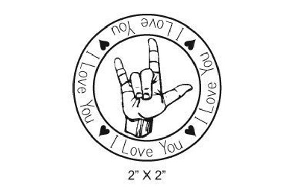 Round Rubber Stamp I Love You ASL Hand Sign 099